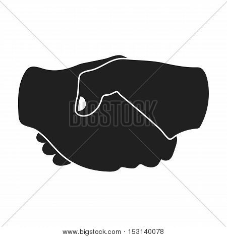 Handshake icon in black style isolated on white background. Hand gestures symbol vector illustration.