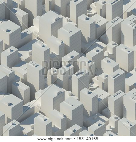 Abstract schematic white cityscape with tall skyscrapers isolated on white, 3d render illustration, bird eye view. Abstract futuristic 3d structure perspective