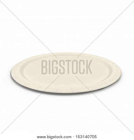 Disposable paper plate isolated on a white background. 3D illustration