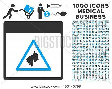 Blue And Gray Rooster Danger Calendar Page glyph icon with 1000 medical business pictograms. Set style is flat bicolor symbols, blue and gray colors, white background.
