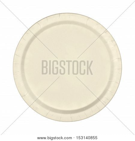 Paper plate isolated on a white background. Top view. 3D illustration