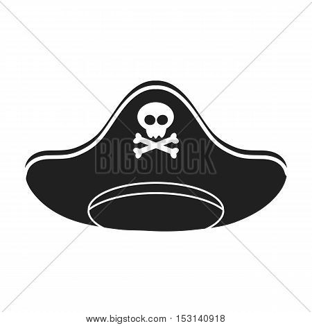 Pirate hat icon in black style isolated on white background. Hats symbol vector illustration.