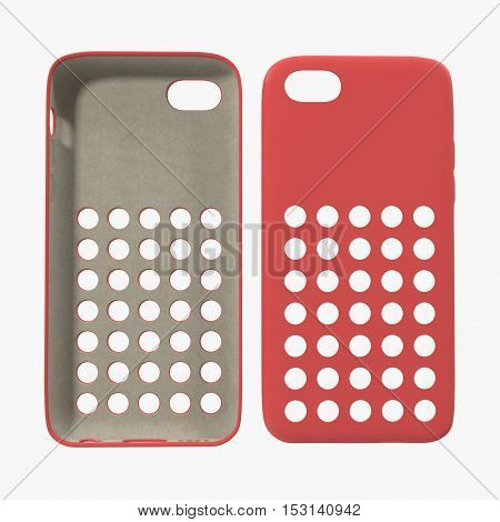 Red cover smartphone on white background. Front view. 3D illustration