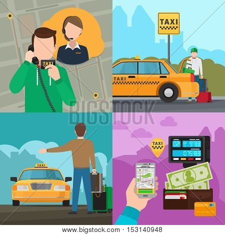 Smartphone touchscreen online taxi car call technology and taxi city transportation service vector concepts