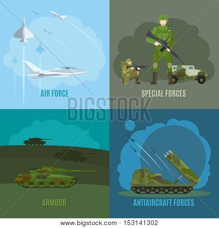 Military and army. Armed forces and air force, special forces and antiaircraft defense vector illustration