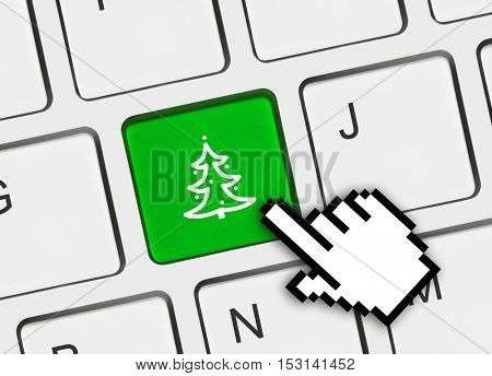 Computer keyboard with Christmas tree key - holiday concept - 3D illustration