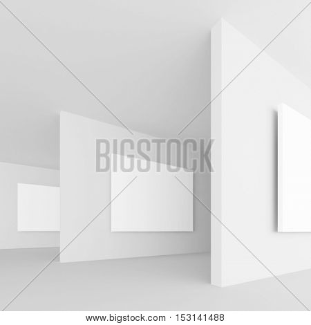 3d Rendering of Abstract Gallery Interior. White Retro Architecture Background. Minimal Empty Hall