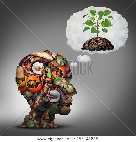 Compost plan and composting planning as a pile of rotting fruits egg shells and vegetable food scraps shaped as a human head dreaming of soil with a sapling growing.