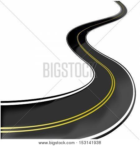Vector black road on white background - illustration