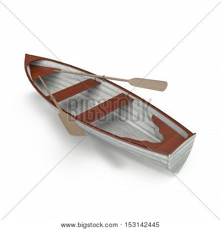 Wooden row boat on white background. Top view. 3D illustration