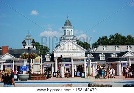 MARYLAND, USA - AUG 8, 2010: Six Flags America theme park near Baltimore, Mitchellville, Maryland, USA.