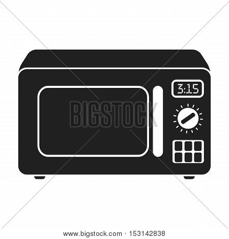 Microwave icon in black style isolated on white background. Household appliance symbol vector illustration.