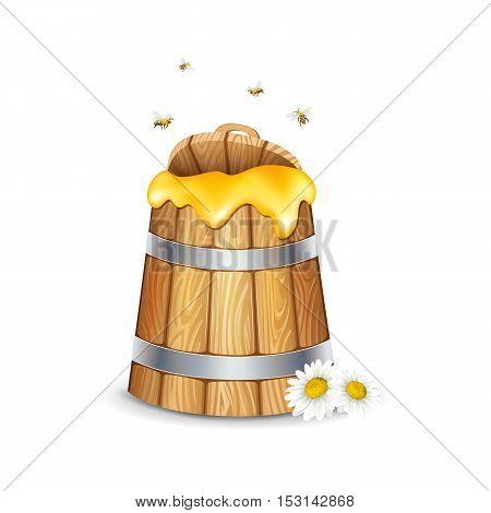 Honey in wooden barrel on white background