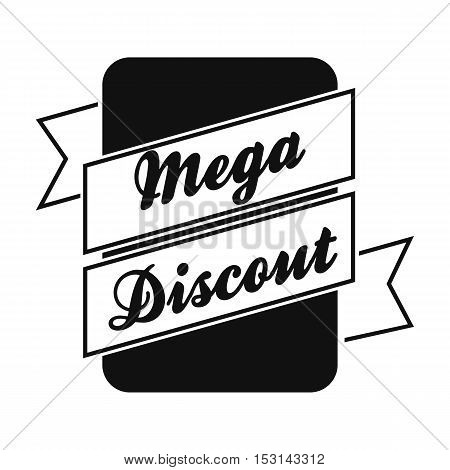 Mega discount icon in black style isolated on white background. Label symbol vector illustration.