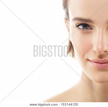 Beauty Woman Half-face Portrait. Beautiful Model Girl With Perfect Fresh Clean Skin