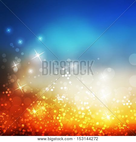 Colorful Sparkling Cover Design Template with Abstract, Blurred Background for Christmas, New Year or Other Holiday Designs