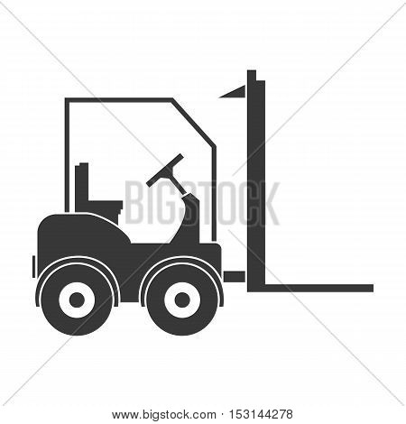 Forklift icon in black style isolated on white background. Logistic symbol vector illustration.