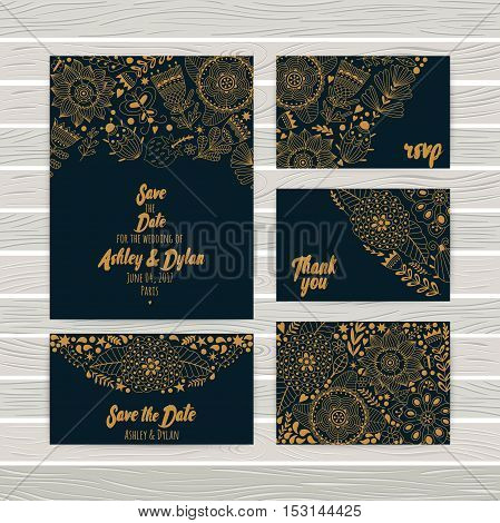 Wedding Invitations cards Template, envelope, thank you card, save the date cards. Bridal set. RSVP card. Marriage event. Valentine Day cards