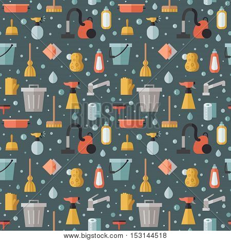 Cleaning flat multicolored vector seamless pattern. Modern minimalistic design.