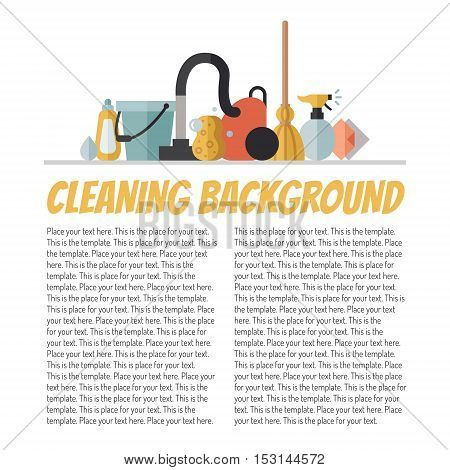 Cleaning flat multicolored vector background with place for your text. Modern minimal design.