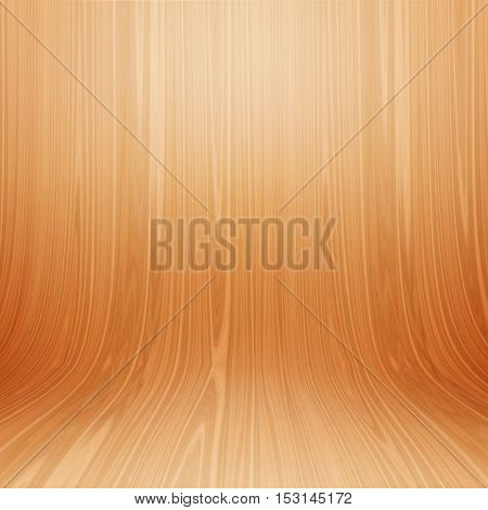 Curved wood presentation background with soft spot lights