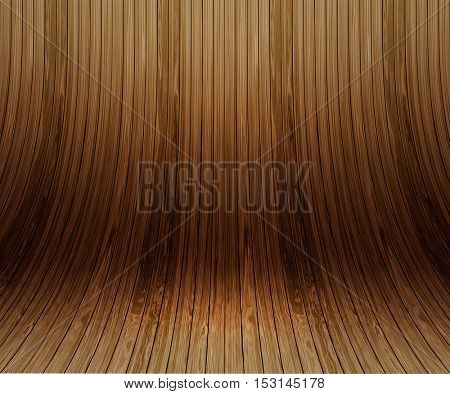 Modern display background of curved wooden planks