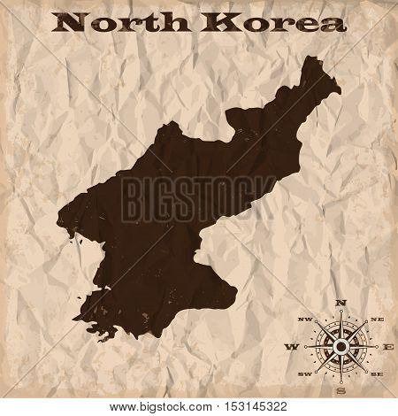 North Korea old map with grunge and crumpled paper. Vector illustration