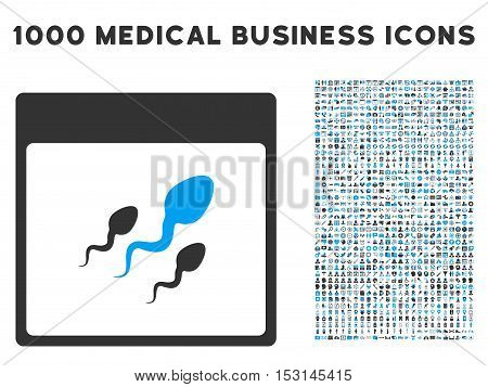 Blue And Gray Spermatozoids Calendar Page glyph icon with 1000 medical business pictograms. Set style is flat bicolor symbols, blue and gray colors, white background.
