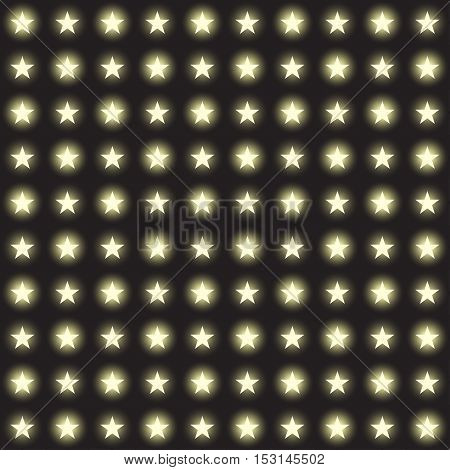 Vector set of stars garlands light on a transparent background. Seamless background