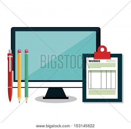 pay and commerce on line with computer vector illustration design