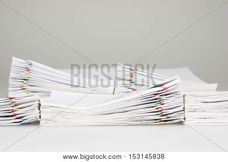 Pile Overload Document Have Blur Pile Paperwork As Background
