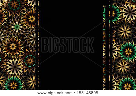 black background with a vertical border of floral pattern