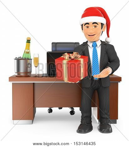 3d business people illustration. Businessman handing a business gift. Isolated white background.