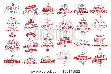 Merry Christmas and Happy New Year 2017 typographic emblems set. Vector logo, red text design. Usable for banners, greeting cards, gifts etc.