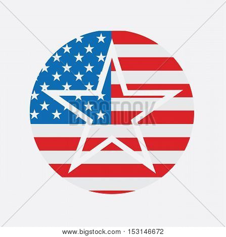 United States Of America USA National Star Flag - United States Emblem Isolated Icon Card Logo Concept Sign Vector Stock