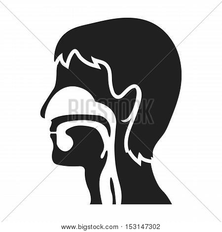 Respiratory system icon in black style isolated on white background. Medicine and hospital symbol vector illustration.