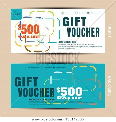 Vector blank of discount voucher on the geometric white and turquoise background.