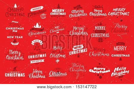Merry Christmas and Happy New Year 2017 typographic emblems set. Vector logo, red and white text design. Usable for banners, greeting cards, gifts etc.