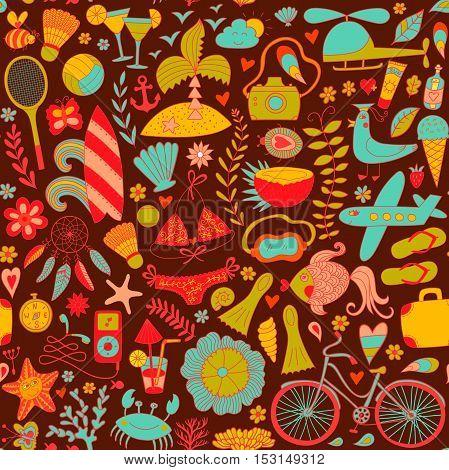 Summer set doodle pattern. Travel drawing. Vacation design vector illustration.