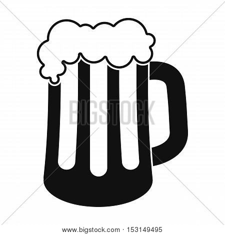 Beer mug icon in black style isolated on white background. Oktoberfest symbol vector illustration.