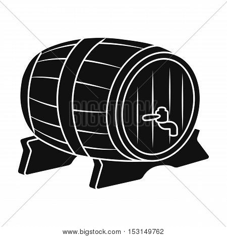 Beer barrel icon in black style isolated on white background. Oktoberfest symbol vector illustration.