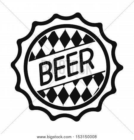 Bottle cap icon in black style isolated on white background. Oktoberfest symbol vector illustration.