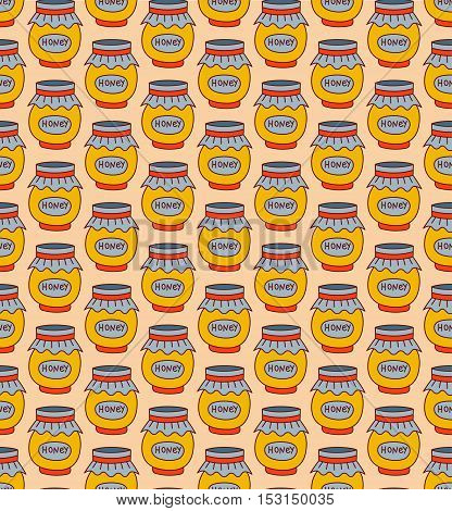 Cute sweet honey pots seamless vector pattern with doodles