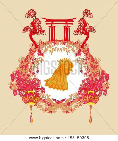 year of rooster - New Year greeting card design , vector illustration