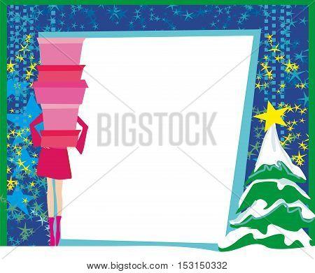 Christmas shopping - winter sale card , vector illustration