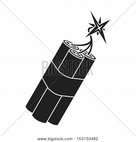 Dynamite icon in black style isolated on white background. Wlid west symbol vector illustration.