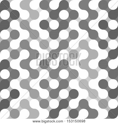 Vector geometric pattern. Circles seamless pattern. Dots, rings, spots. Minimalistic abstract backdrop. Black and white geometry template. Round mosaic shape. Circles ornament