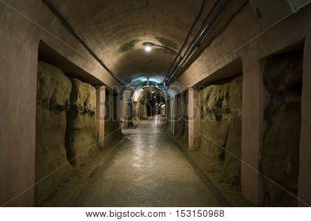 Okinawa Japan - October 21 2016: Hallway of Japanese Navy Underground Headquarters during world war II
