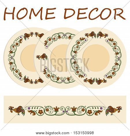 Floral ornament with rooster, symbol of 2017 on the Chinese calendar for interior design and set of 3 matching decorative plates with Element for New Years, vector illustration.