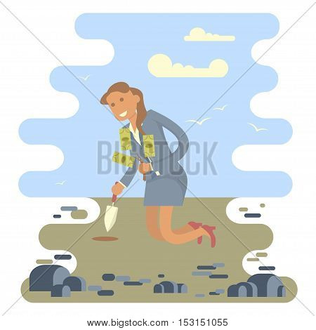Business Woman planting a money tree in the middle of the stones. Vector illustration business success concept. Character design.. Vector illustration eps 10